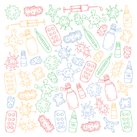 Cough, pills, influenza, flu, sickness. Vector pattern with doodle icons Healthcare and medicine