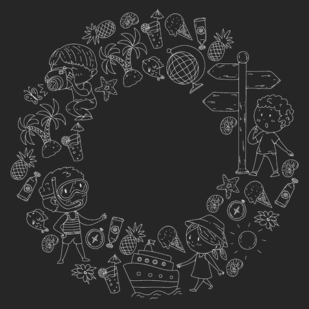 Happy children playing at seashore, beach, sea, ocean. Kids vacation and travelling. Doodle icons globe, cruise ship, cocktails. Blackboard