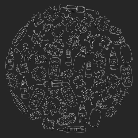 Cough, pills, influenza, flu, sickness. Vector pattern with doodle icons Healthcare and medicine Illusztráció