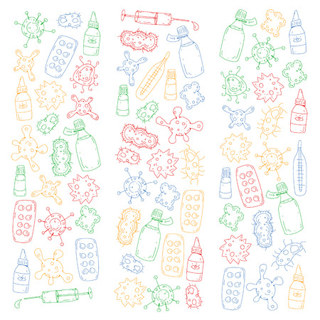 Cough, pills, influenza, flu, sickness. Vector pattern with doodle icons Healthcare and medicine Illustration