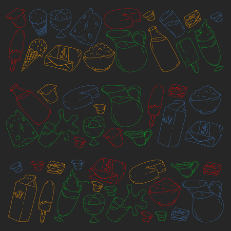 Dairy products. Doodle icons. Diet, breakfast. Milk, yogurt, cheese, ice cream, butter. Eat fresh healthy food and be happy.