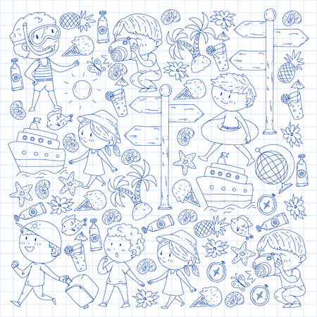 Happy children playing at seashore, beach, sea, ocean. Kids vacation and travelling. Swimming, doodle icons globe, cruise ship, cocktail