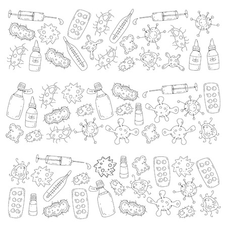 Cough, pills, influenza, flu, sickness. Vector pattern with doodle icons Healthcare and medicine Stockfoto - 126527461