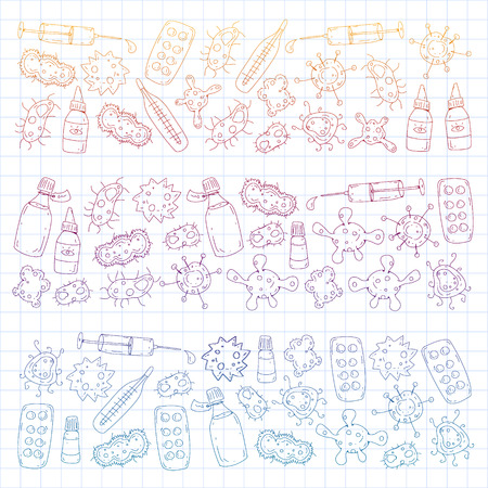Cough, pills, influenza, flu, sickness. Vector pattern with doodle icons Healthcare and medicine Çizim