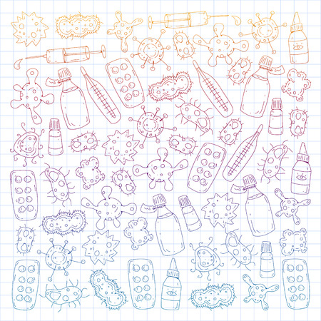 Cough, pills, influenza, flu, sickness. Vector pattern with doodle icons Healthcare and medicine Foto de archivo - 126527471