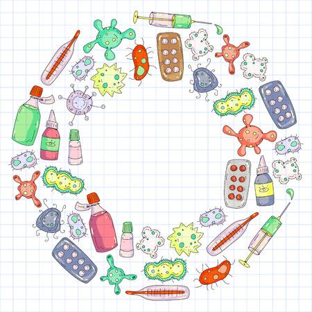 Husten, Tabletten, Grippe, Grippe, Krankheit. Vektormuster mit Doodle-Symbolen Gesundheitswesen und Medizin