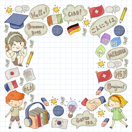 Language school for adult, kids. Children courses. English, Italian, Spanish, Japanese, Chinese Arabic German Play and study