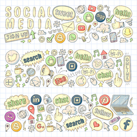 Social media and teamwork icons. Doodle images. Management, business infographic