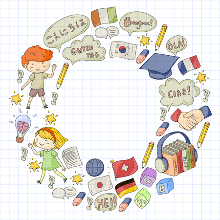 Language school for adult, kids. Children courses. English, Italian, Spanish, Japanese, Chinese Arabic German Play and study Foto de archivo - 126527486