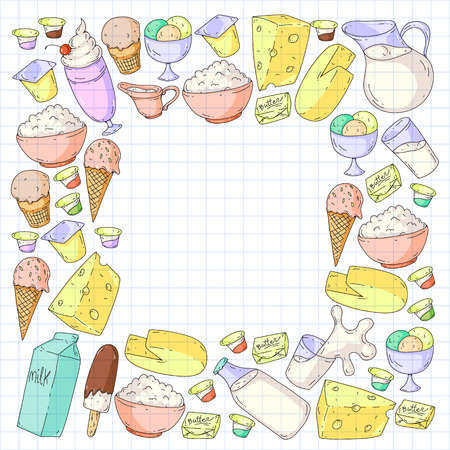 Dairy products. Doodle icons. Diet, breakfast. Milk, yogurt, cheese, ice cream, butter Eat fresh healthy food and be happy