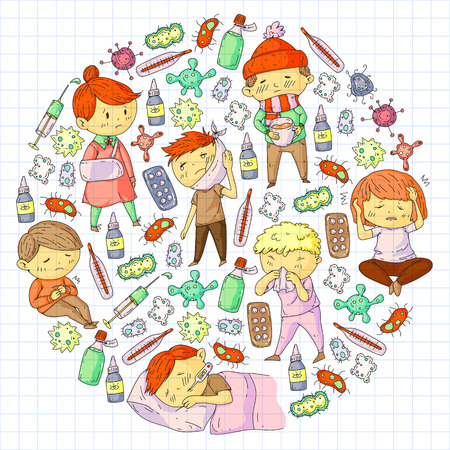Children medical center. Healthcare illustration. Doodle icons with small kids, infection, fever, cold, virus illness