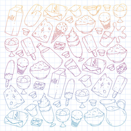Dairy products. Doodle icons. Diet, breakfast. Milk, yogurt, cheese, ice cream, butter Eat fresh healthy food and be happy Banque d'images - 114564827