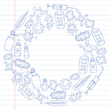 Cough, pills, influenza, flu, sickness. Vector pattern with doodle icons Healthcare and medicine Stockfoto - 126476374