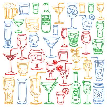 Conjunto de vector de cócteles populares para el menú. Iconos de estilo Doodle. Ilustración de vector