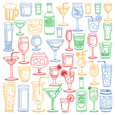 Vektorset beliebter Cocktails für das Menü. Symbole im Doodle-Stil. Vektorgrafik