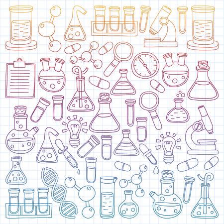 Vector, conjunto, de, química, ciencia, iconos