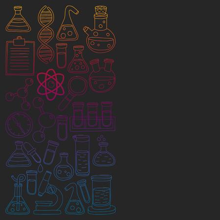 Ensemble de vecteur de chimie, icônes de la science Vecteurs