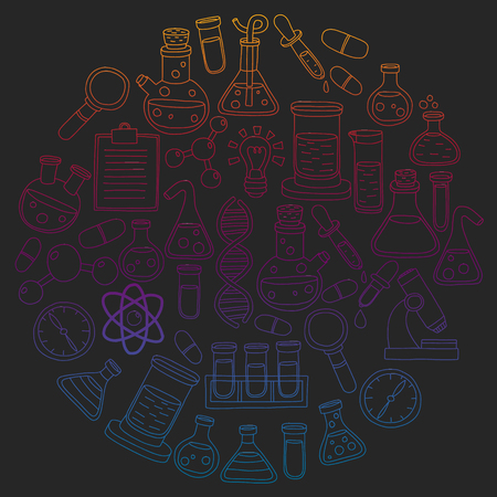 Vector set of chemistry, science icons. Pattern with laboratory equipment images.