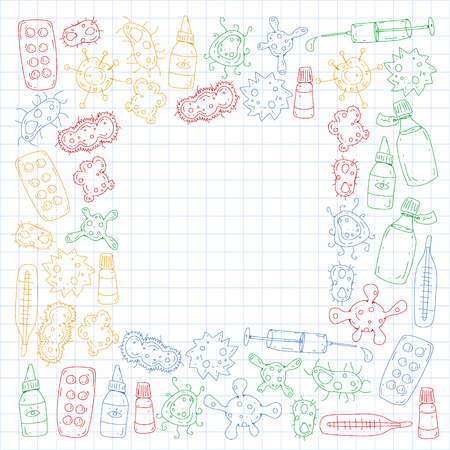 Cough, pills, influenza, flu, sickness. Vector pattern with doodle icons Healthcare and medicine Stock Illustratie