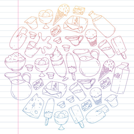 Dairy products. Doodle icons. Diet, breakfast. Milk, yogurt, cheese, ice cream, butter Eat fresh healthy food and be happy Banco de Imagens - 126444196