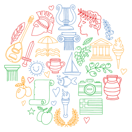 Vector set of doodle Greece icons Archivio Fotografico - 126351961