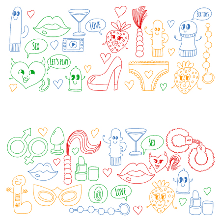 Funny icons for sex shop. Cute cartoon characters. Dildo, strawberry, condom, heart. Love and play Banco de Imagens - 115449254