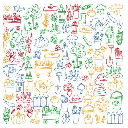 Giardino, agricoltura, attrezzi da giardino, raccolta di attrezzature Icone di articoli da giardinaggio Vettoriali