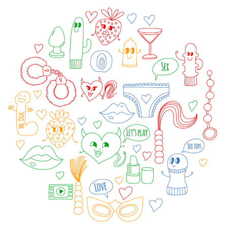Funny icons for shop. Cute cartoon characters. Dildo, strawberry, condom, heart. Love and play Vector Illustratie