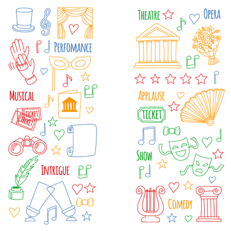 Vector set with theatre icons. Entertainment, show, musical perfomance Banque d'images - 115447954