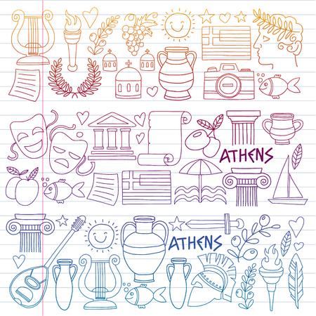 Vector set of doodle Greece icons Archivio Fotografico - 126351999