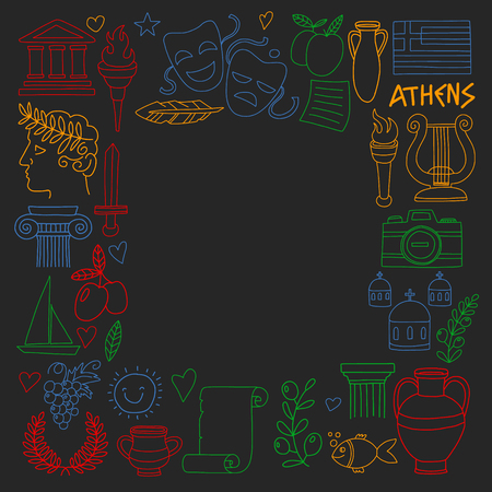 Vector set of doodle Greece icons Standard-Bild - 126352018