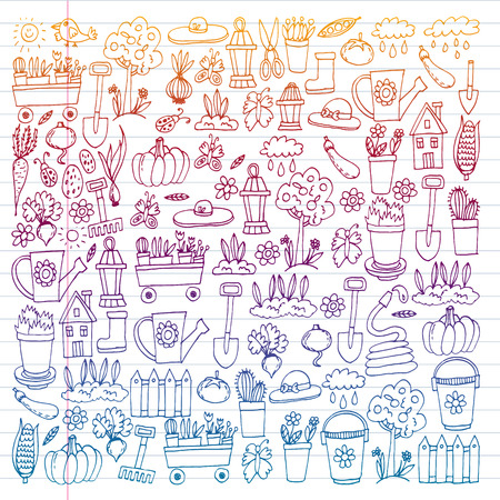 Garden, agriculture, garden tools, equipment harvest Icons of gardening items