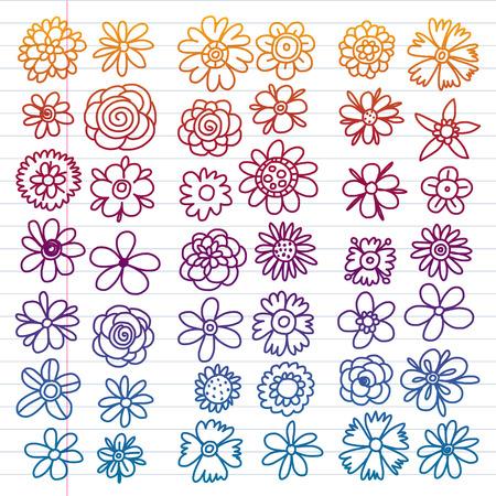 Vector set of colorful doodle flowers. Wedding ornament Illustration