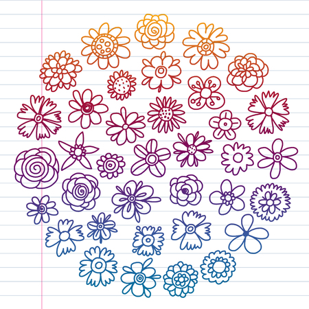 Vector set of colorful doodle flowers. Wedding ornament Illustration