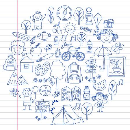 Ensemble de vecteurs de camping, icônes de randonnée pour les petits enfants. Vacances d'enfants à l'école et à la maternelle