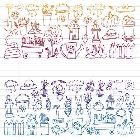 Garten, Landwirtschaft, Gartengeräte, Geräteernte Ikonen von Gartenartikeln