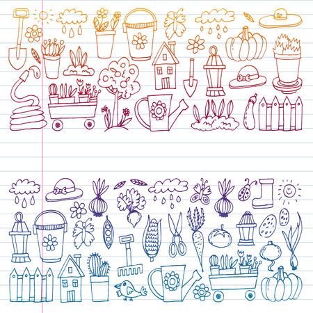 Garden, agriculture, garden tools, equipment harvest Icons of gardening items
