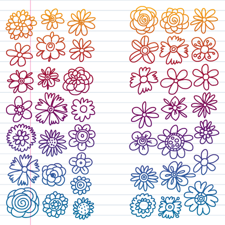 Vector set of colorful doodle flowers. Wedding ornament 向量圖像