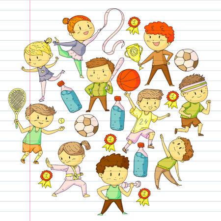 Children sport competitions. Young atheles playing soccer, football, baseball, basketball. Boys and girls running. Images of rhythic gymnastics, figure skating. Stock Illustratie