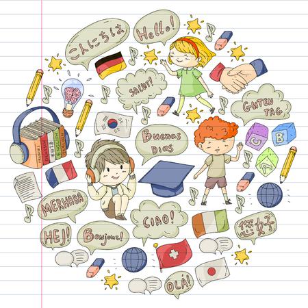 Escuela de idiomas para adultos, niños. Cursos para niños. Inglés, italiano, español, japonés Chino Árabe Alemán Jugar y estudiar Ilustración de vector