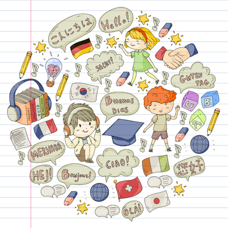 Language school for adult, kids. Children courses. English, Italian, Spanish, Japanese Chinese Arabic German Play and study Ilustracja