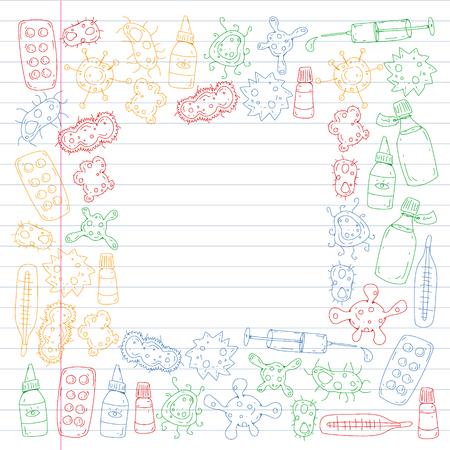Tos, pastillas, influenza, gripe, enfermedad. Patrón de vector con iconos de doodle Salud y medicina Ilustración de vector