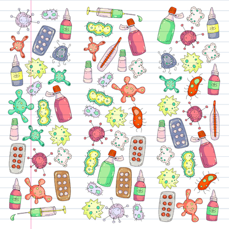 Cough, pills, influenza, flu, sickness. Vector pattern with doodle icons Healthcare and medicine 向量圖像