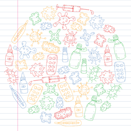 Cough, pills, influenza, flu, sickness. Vector pattern with doodle icons Healthcare and medicine Ilustração