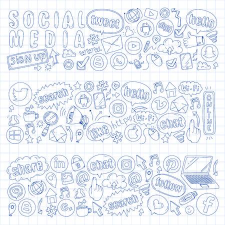 Iconos de redes sociales y trabajo en equipo. Imágenes de garabatos. Gestión, infografía empresarial