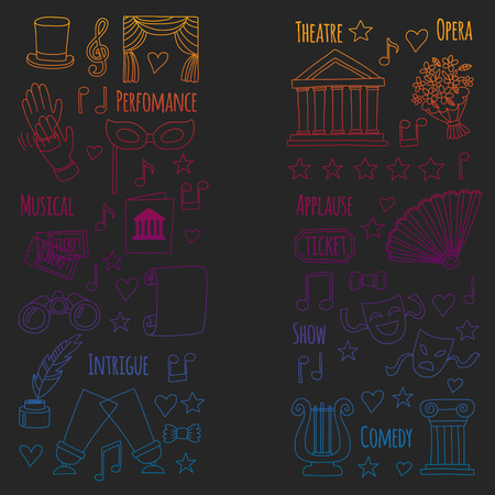 Vector set with theatre icons. Entertainment, show, musical perfomance Banque d'images - 115443621