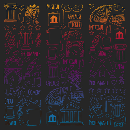 Vector set with theatre icons. Entertainment, show, musical perfomance Banque d'images - 115443622
