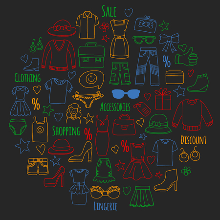 Shopping, market, store Clothing and fashion icons Illustration