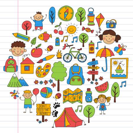 Vector conjunto de iconos de camping, senderismo para niños pequeños. Vacaciones para niños en la escuela y el jardín de infantes. Ilustración de vector