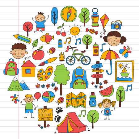 Vector set of camping, hiking icons for little children. School and kindergarten kids vacation Vektorové ilustrace